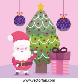 merry christmas santa with tree gift and balls decoration and celebration