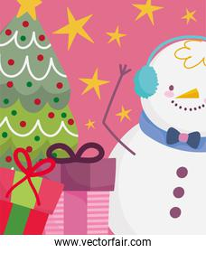 merry christmas snowman with tree and gifts decoration and celebration