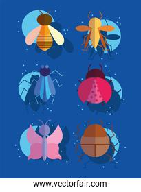 bugs small animals in cartoon style on blue background