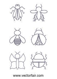 bugs small animals in thin line style icons white background