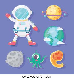 astronaut planet comet earth moon and alien space galaxy in cartoon style