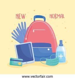 new normal, backpack with gloves mask gel sanitizer and mobile