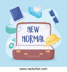 new normal, travel suitcase with mask glasses alcohol disinfect