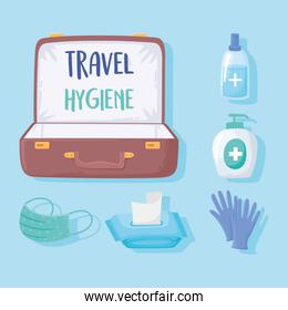 new normal after covid 19 travel hygiene suitcase mask tissue paper gel