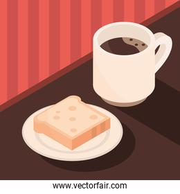 coffee cup and bread in plate brewing isometric icon