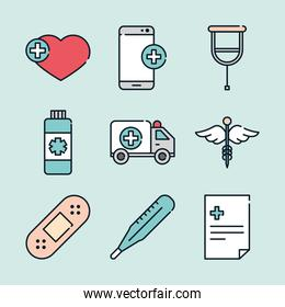 health medical smartphone ambulance heart thermometer bottle icons line and fill