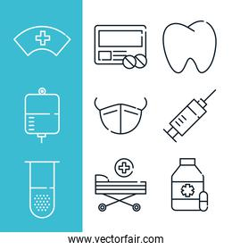 set of health medical mask tooth flask bottle medicine line icons