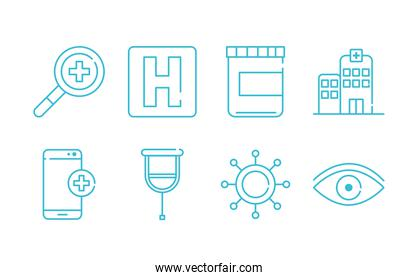 health medical hospital bottle mobile virus icons line