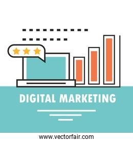digital marketing laptop strategy report advertising card line and fill