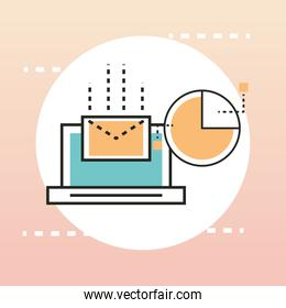 digital marketing laptop online email and diagram line and fill