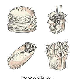 fast food burger sandwich and burrito snacks hand drawn icons