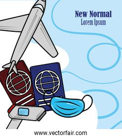 new normal, safe travel in airplane wearing mask, after coronavirus covid 19