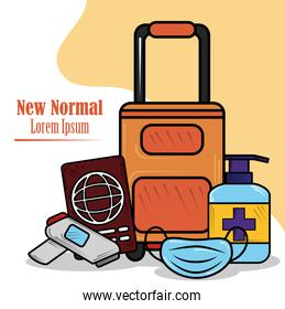 new normal, travel, wear mask disinfect hands, after coronavirus covid 19