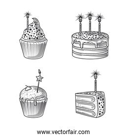 happy birthday, icons cake cupcake and candles party, engraving style