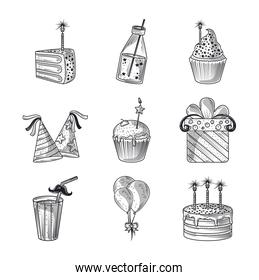 happy birthday cake gift hat balloon celebration decoration party, icons engraving style
