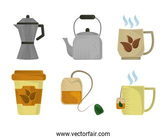 set icons of tea cups pots organic herbs and teabag