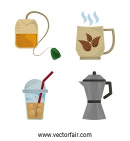 tea fresh hot beverage kettle and disposable cup icons