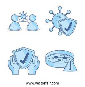 covid 19 coronavirus investigation, social distance protection and prevention icons blue