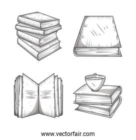 book icons set, learning information or study engraving style