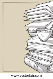 stacked books with pages paper and coffee cup engraving style
