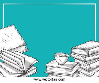 books stack and coffee cup learning study and knowledge engraving style