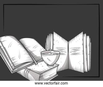 book with bookmark coffee cup on black background engraving style