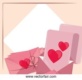 valentines day, romantic letter and envelopes with empty banner