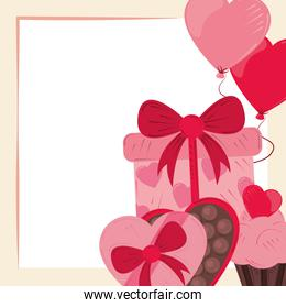 valentines day, romantic chocolate candy heart box gift and balloons