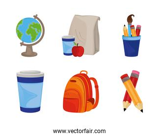 back to school, icons set with backpack globe pencils and lunch education