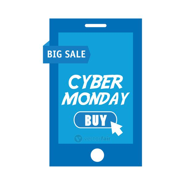 cyber monday lettering in smartphone and mouse arrow