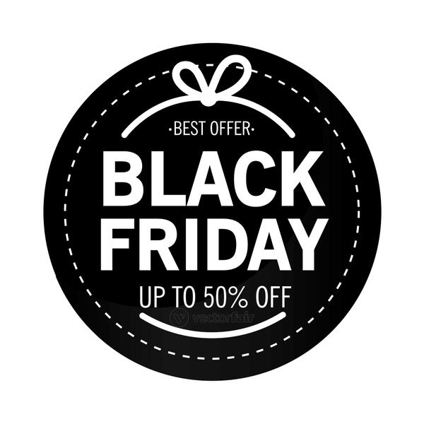 black friday sale lettering in circular stamp