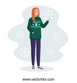 woman with merry christmas green sweater vector design