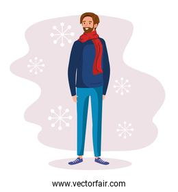 man wearing winter clothes character