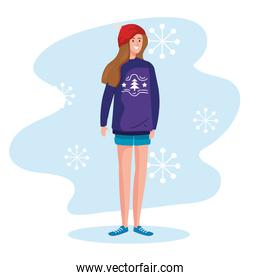 woman with merry christmas purple sweater