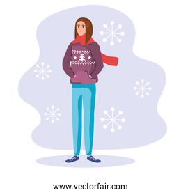 woman with merry christmas purple sweater isolated icon