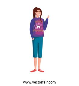young woman with merry christmas purple sweater