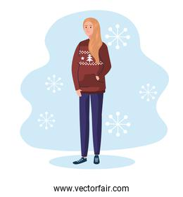 woman with merry christmas brown sweater vector design