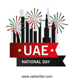 Uae national day with city buildings vector design
