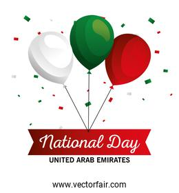 Uae national day with balloons vector design