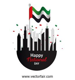 Uae national day with city buildings and flag vector design