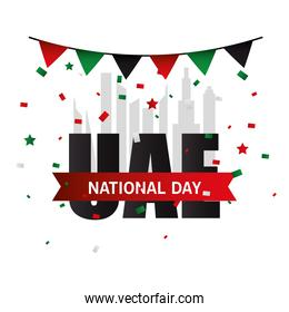 Uae national day with banner pennant vector design