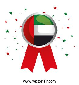 Uae national day seal stamp with ribbon vector design