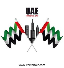 Uae national day with flags and city vector design