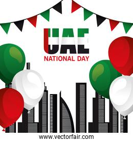 Uae national day with city buildings and balloons vector design