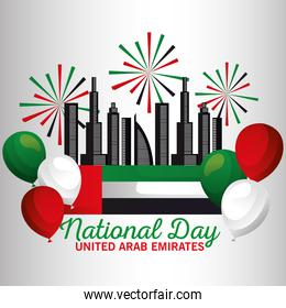 Uae national day with flag fireworks balloons and city vector design