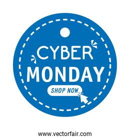 cyber monday lettering in circular tag isolated icon