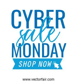 cyber monday lettering with ribbon in white background