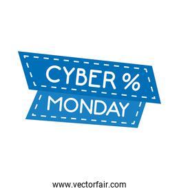 cyber monday lettering in ribbon frame with percent symbol