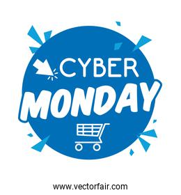cyber monday lettering in circular tag with shopping cart
