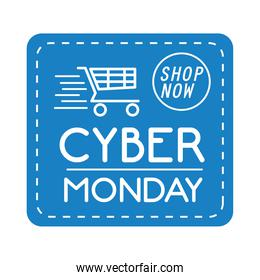 cyber monday lettering in square label with speed shopping cart